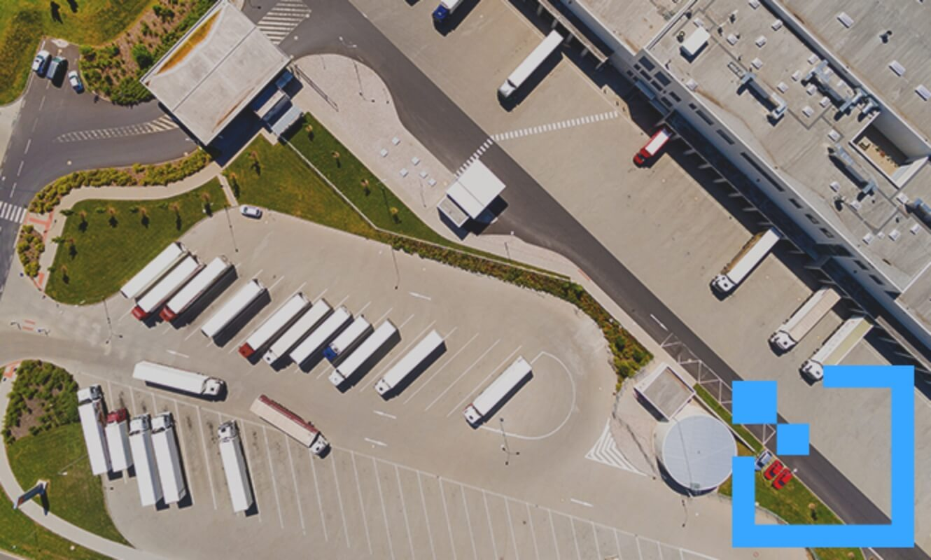 Truck parking lot aerial view