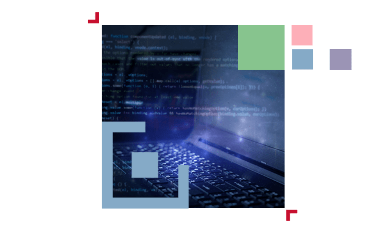abstract illustration of code over a laptop
