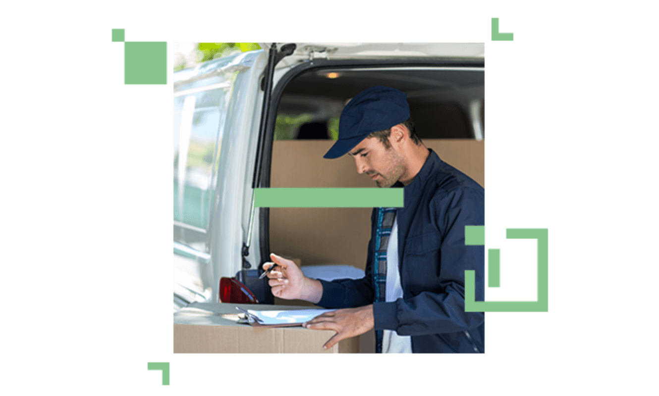 delivery person signing papers