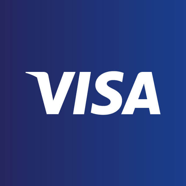 visa logo on blue background