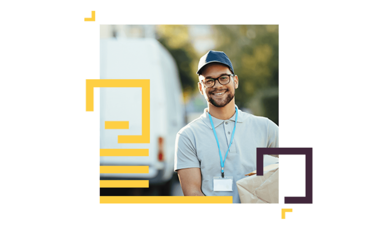 a smiling delivery man with glasses holding a parcel