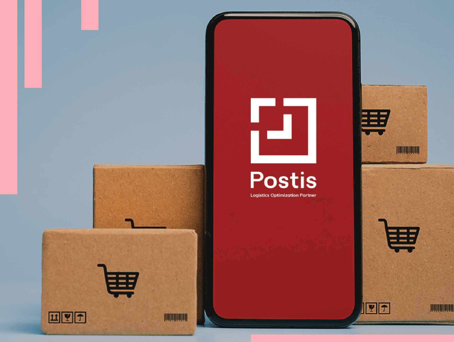 mobile phone with Postis logo on screen