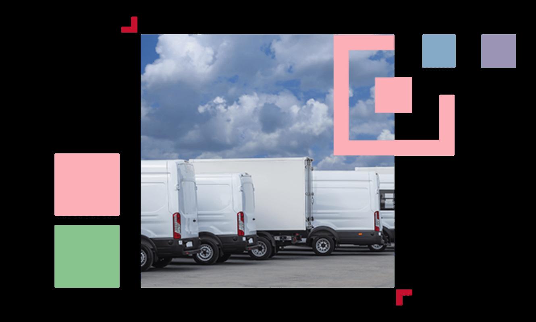 white vans and trucks parked