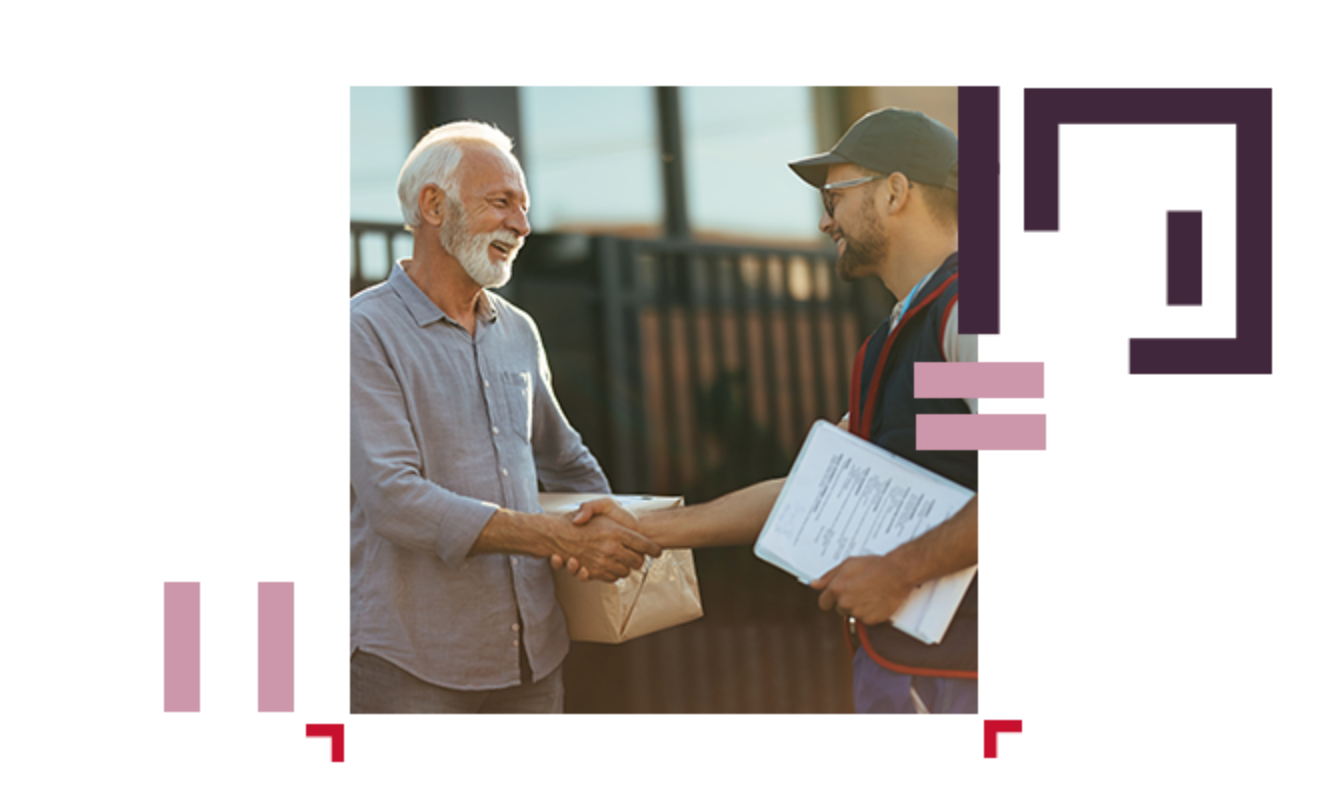 client shaking hands with delivery person