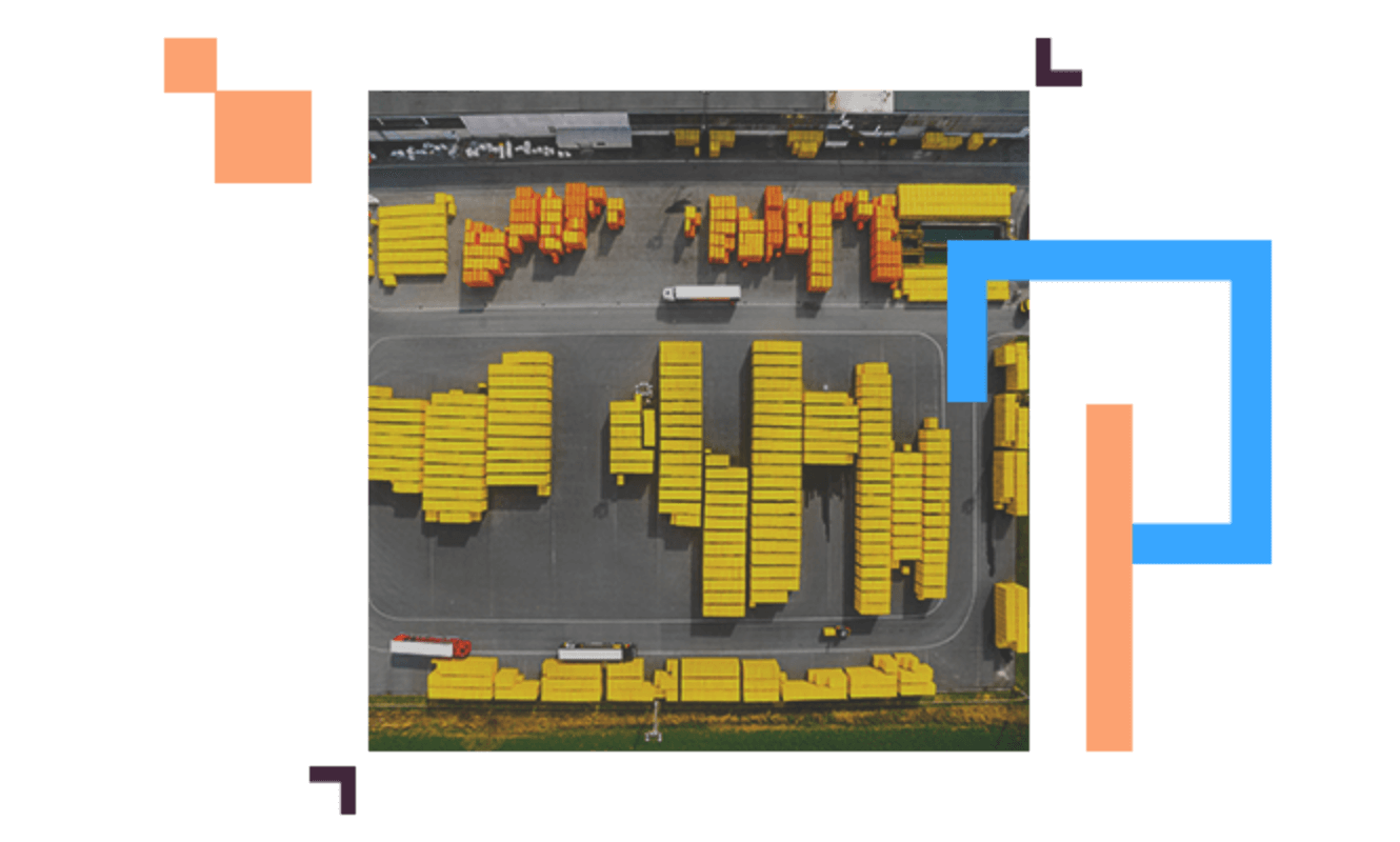 top view of stored shipping containers