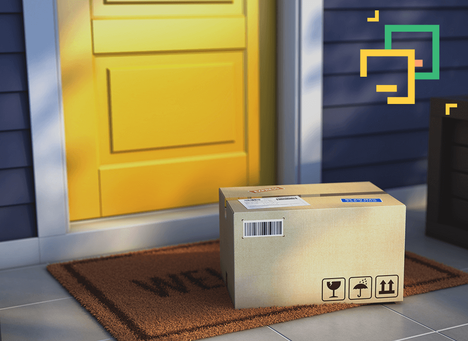 parcel in front of a yellow dor