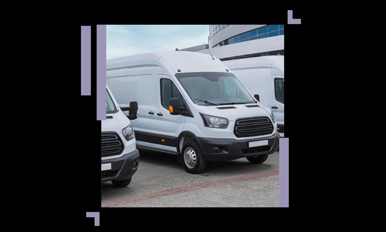 image of three white vans