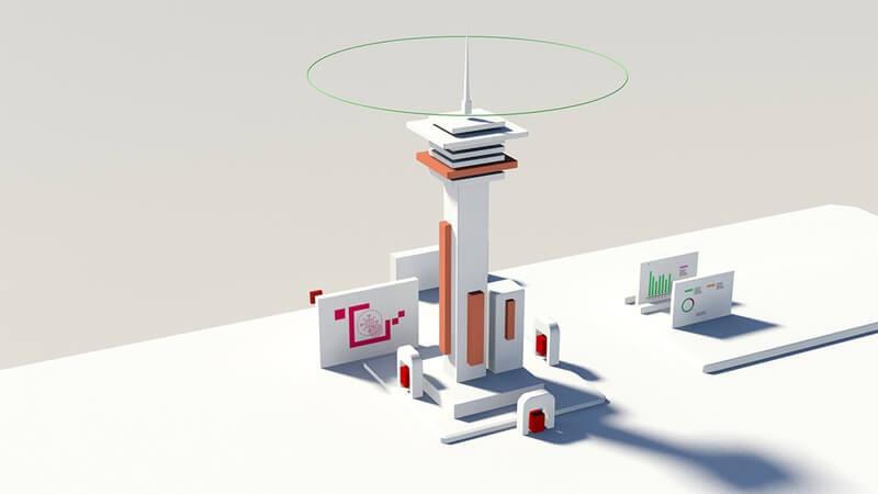 control tower 3d illustration