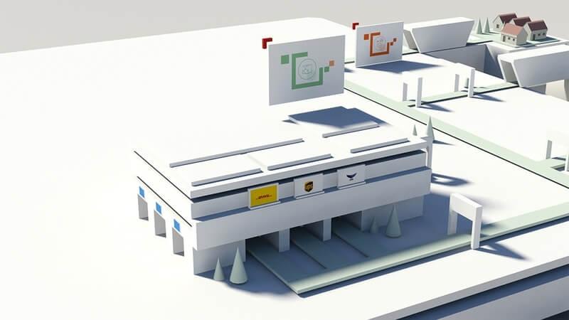 delivery solution 3d illustration