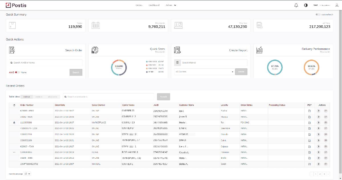 postis platform screenshot