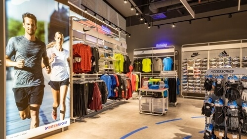 interior of  a sport clothing shop