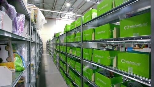 green boxes on shelfs