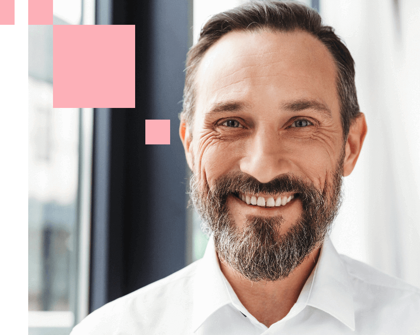 portrait of middle aged man with beards, smiling
