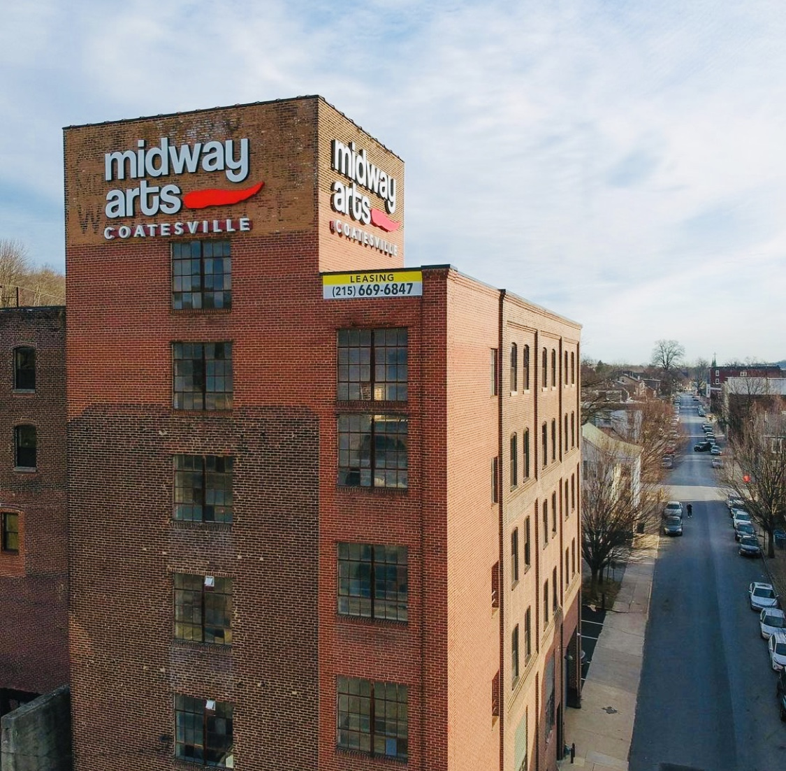 Arial picture of the Midway Arts building in Coatesville, PA.
