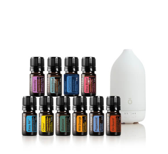 10 doTERRA essential oil 15mL bottles with a diffuser