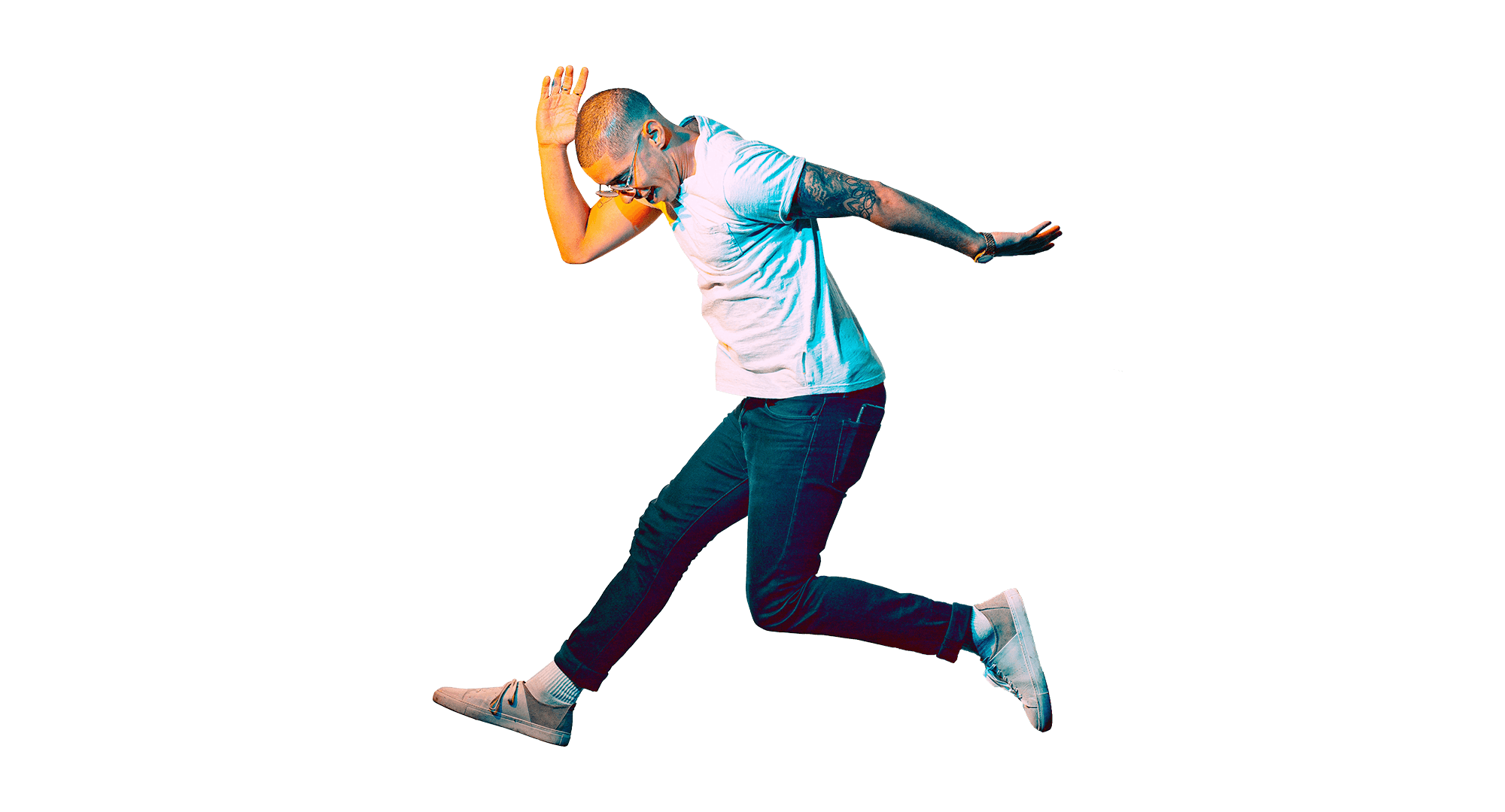 Young smiling man, jumping in the air.