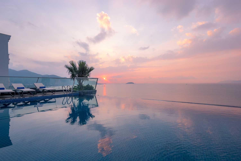 Sunset by the pool Royal Boton Blue Hotel & Spa - Photos by Halo Digital media - Hotel & Resort Photography - Vietnam - Nha Trang