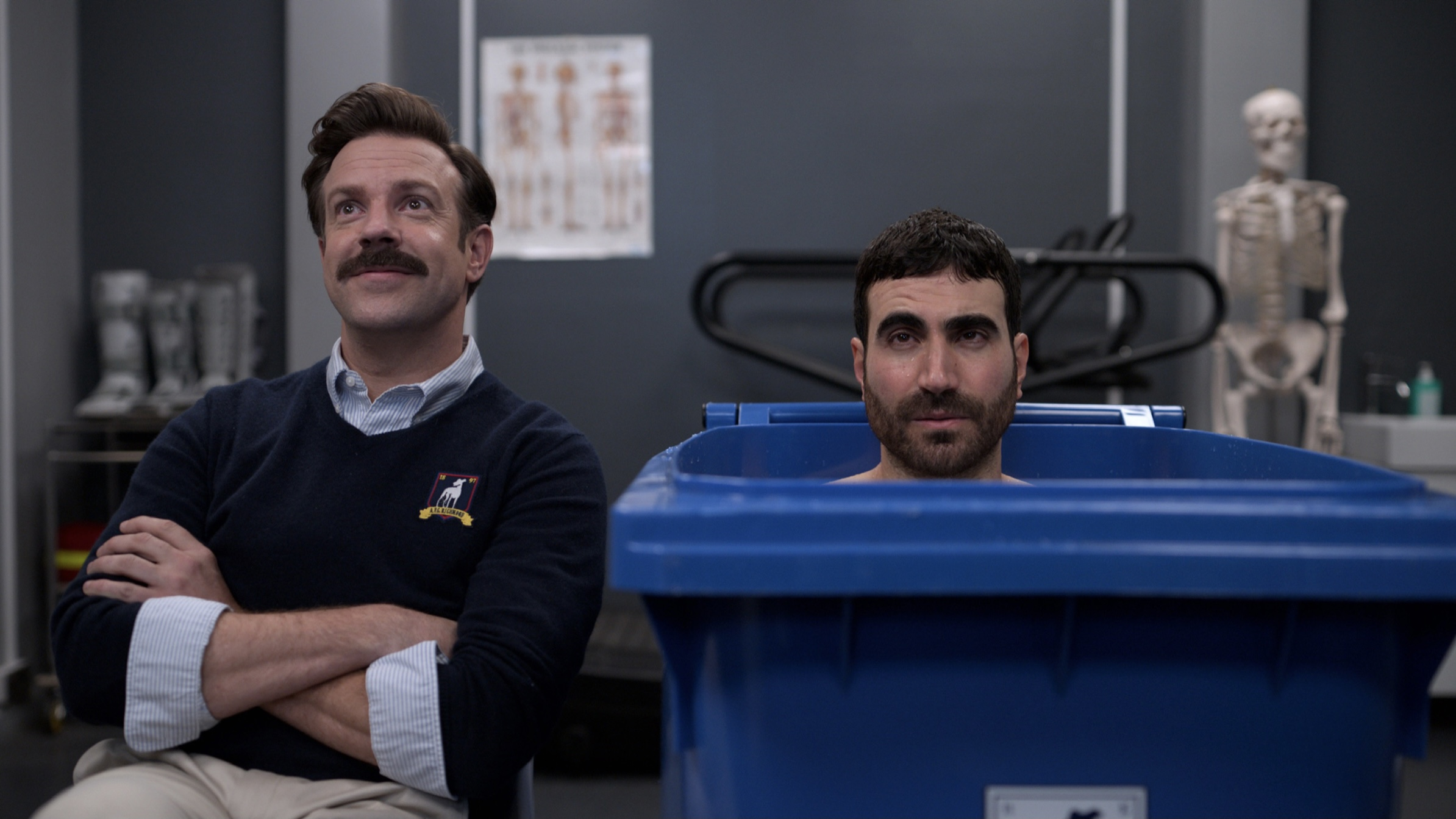 Jason Sudeikis and Brett Goldstein in Ted Lasso