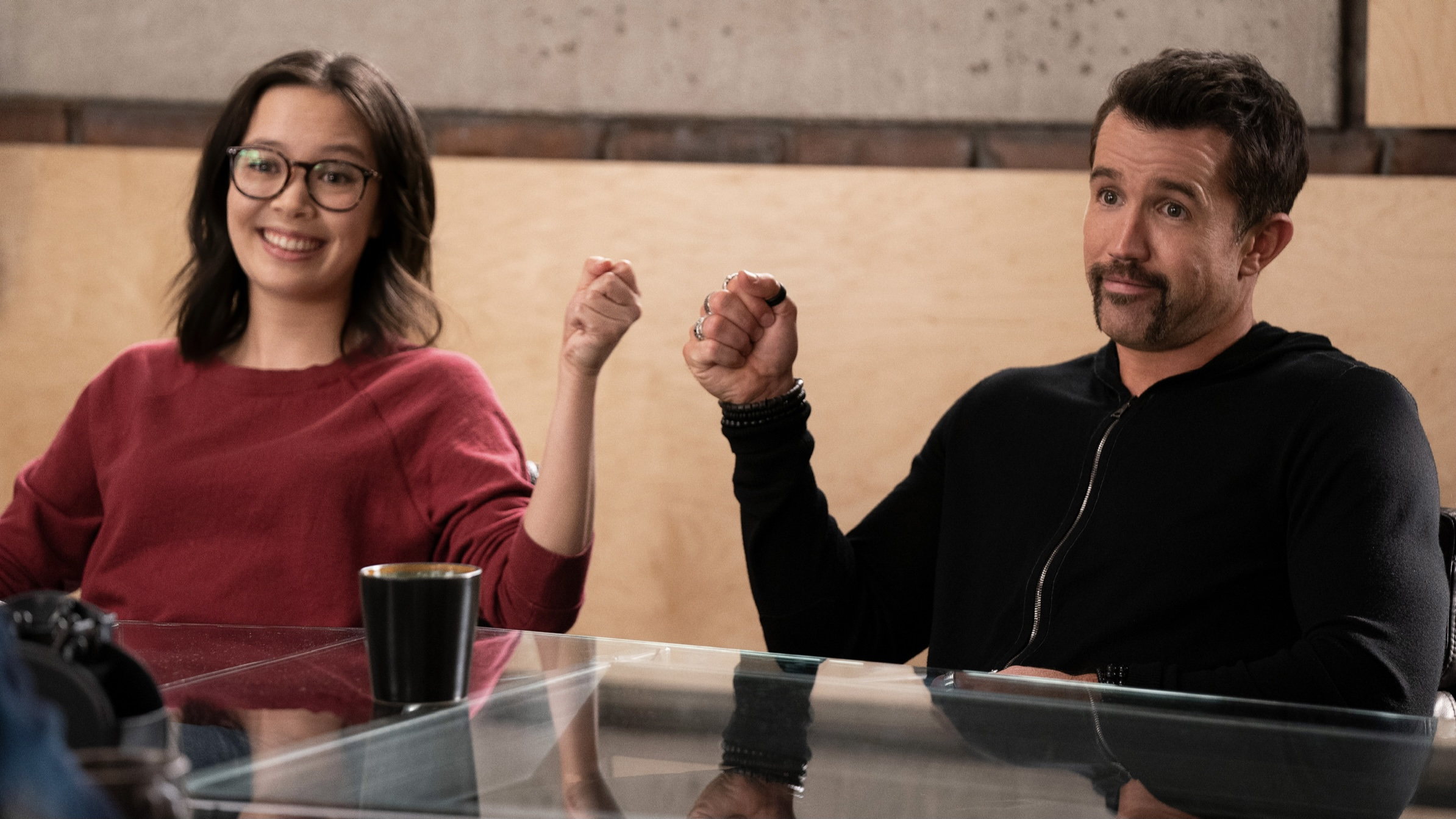 Rob McElhenney and Charlotte Nicdao in Mythic Quest
