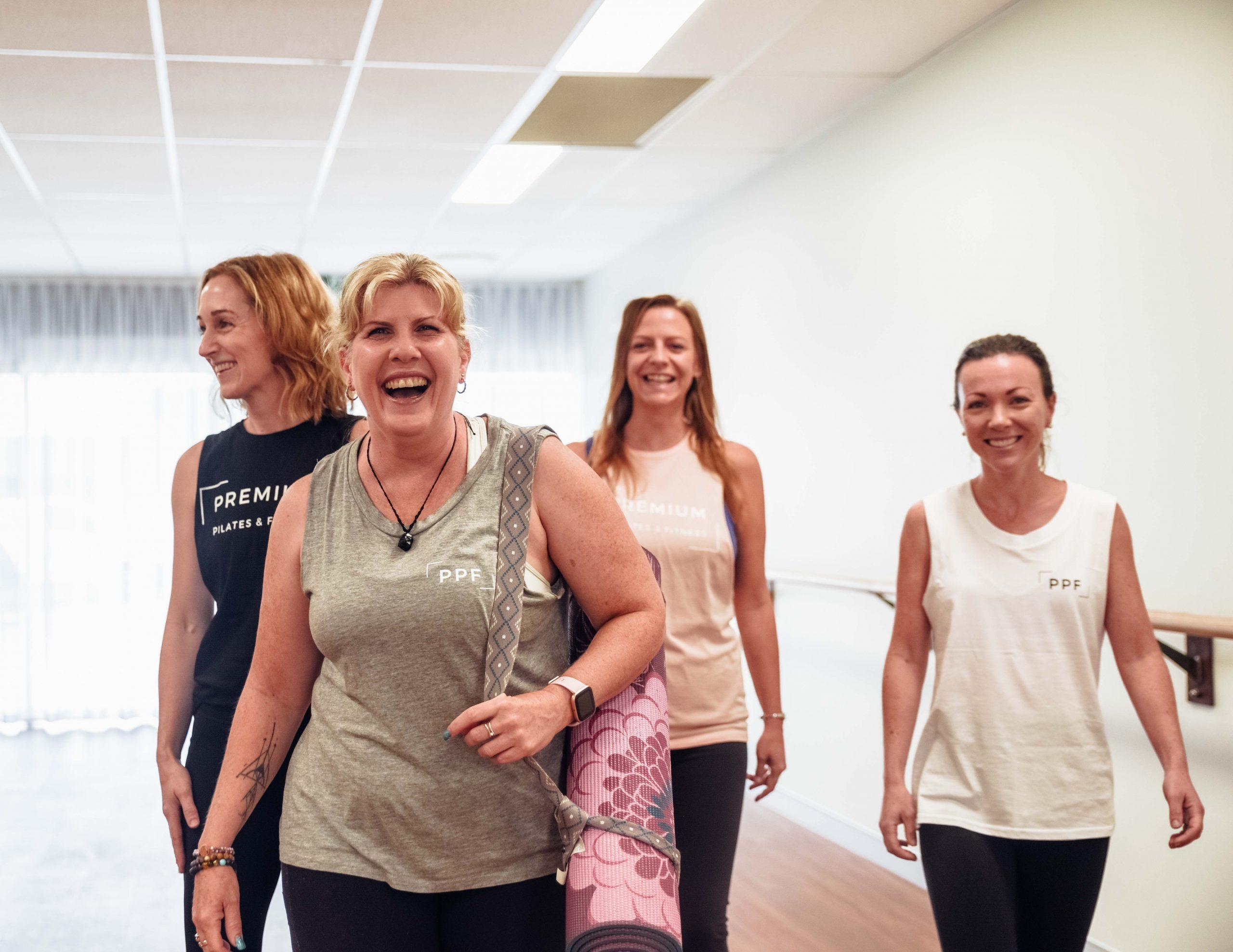 women leave pilates class in brisbane