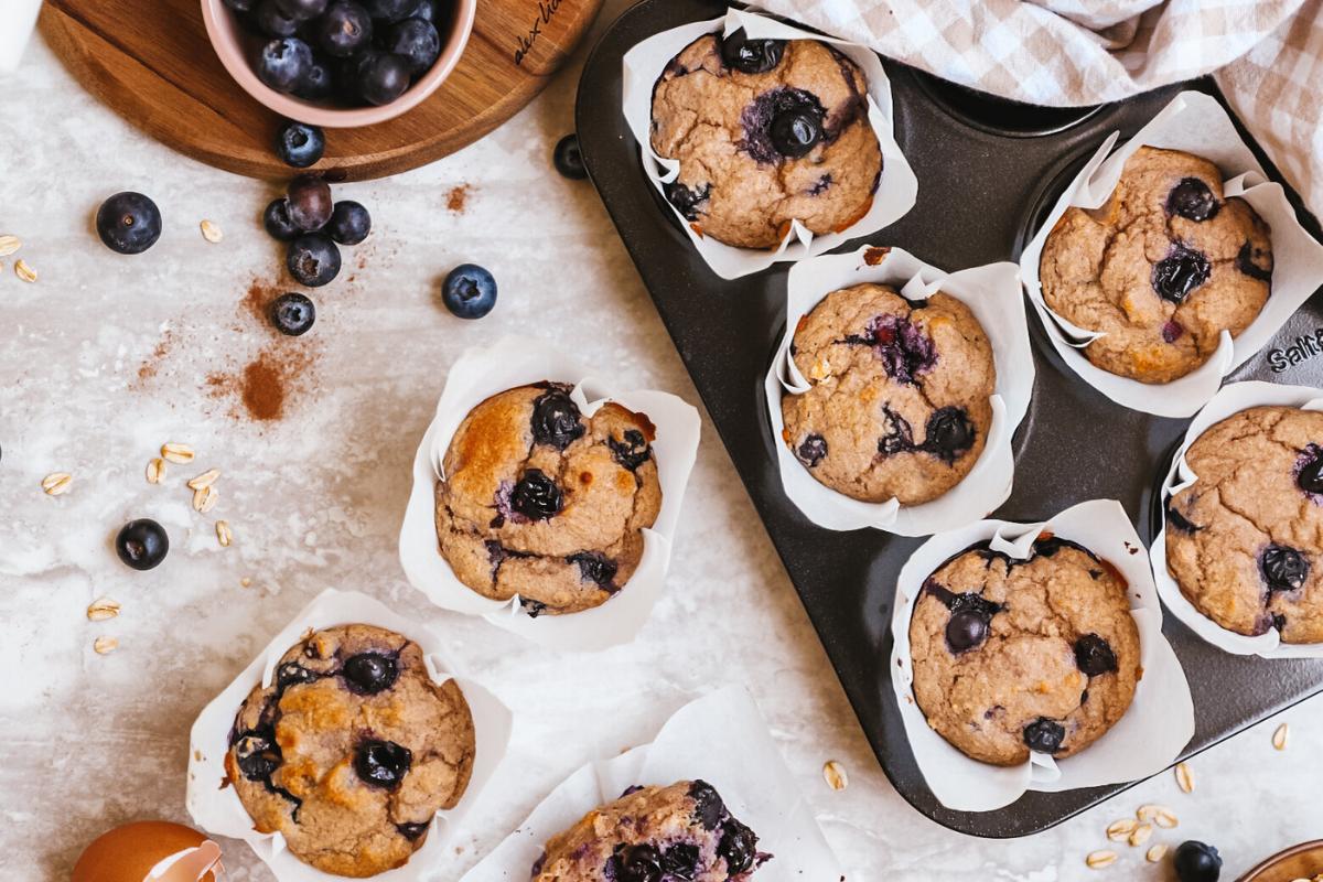 Healthy blueberry muffins on kitchen bench