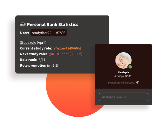 An example of the personal statistics students can see including study streak, study role and time spent studying, as well as leaderboard rankings. Also an example of how students can invite friends.