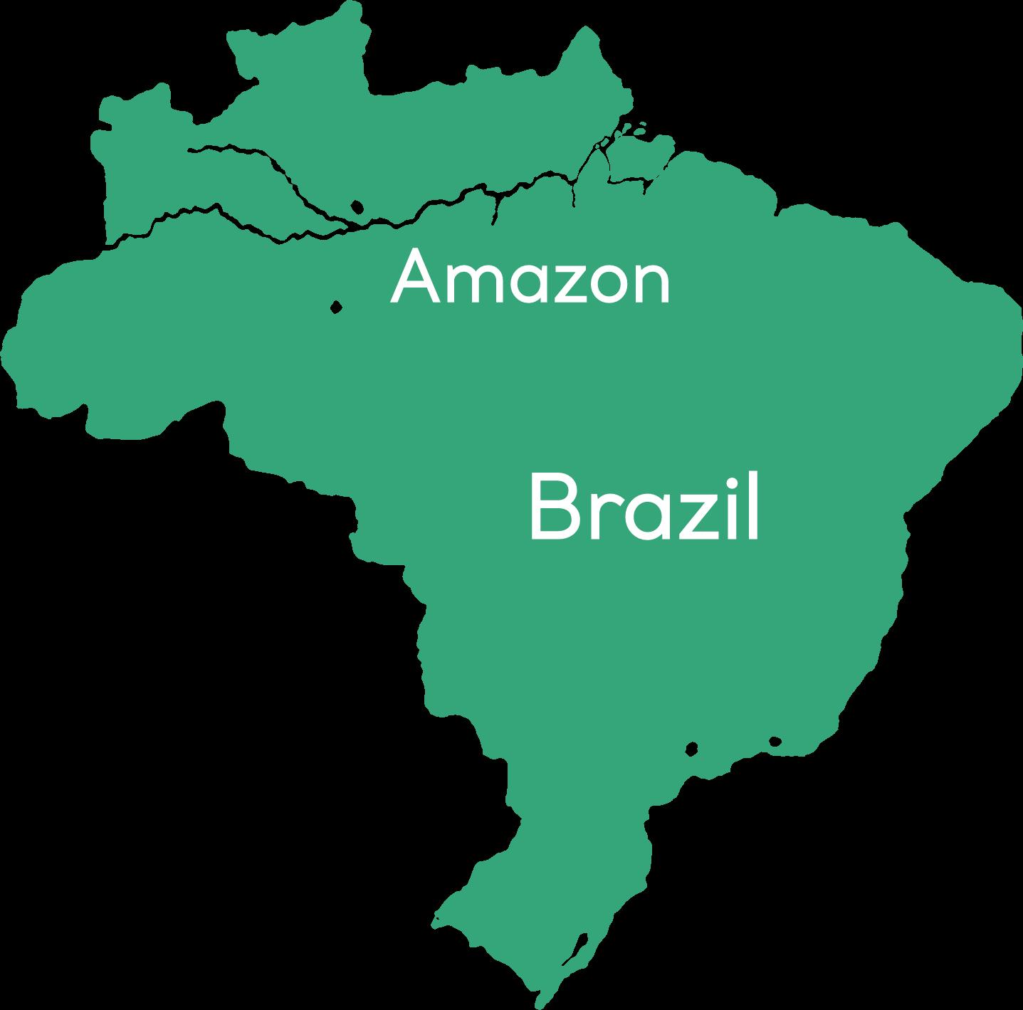 アマゾンの位置を示したブラジルのマップ