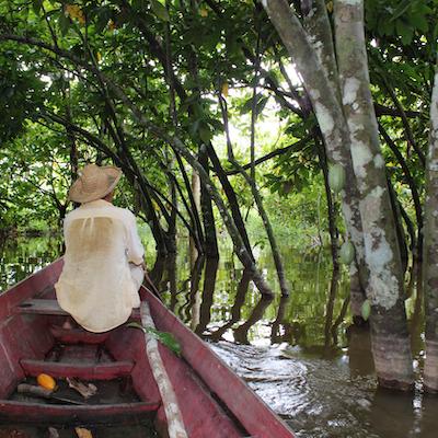 ジャングルの川を船に乗って行くアマゾンの農家