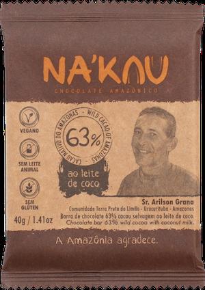 Na'kau 63% チョコレートの農家が写った商品パッケージ