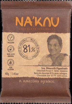 Na'kau 81% チョコレートの農家が写った商品パッケージ