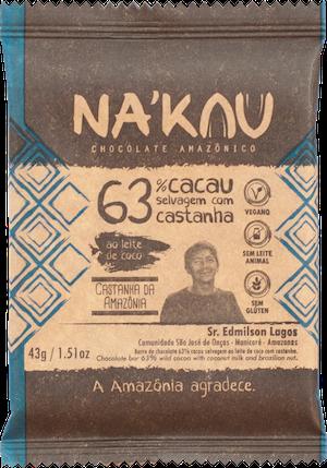 Na'kau のアマゾン流域にしかないナッツ入りチョコレートのパッケージ