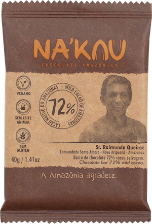 Na'kau 72% チョコレートの農家が写ったパッケージ