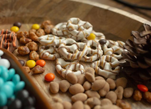 Mixed nuts and pretzels.