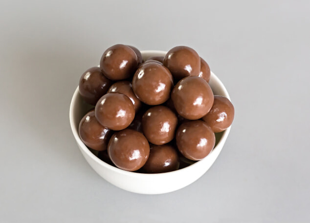 Cup with choco-panned nuts.
