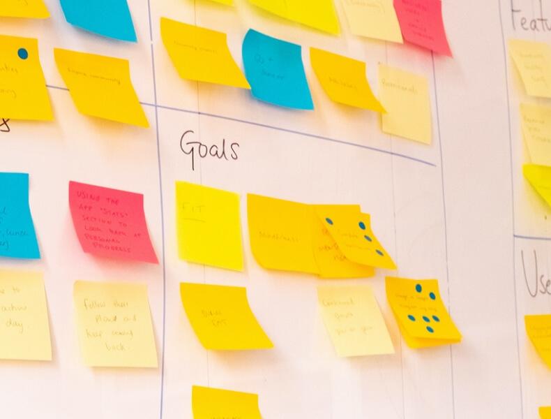 Post-it note ideas on a whiteboard