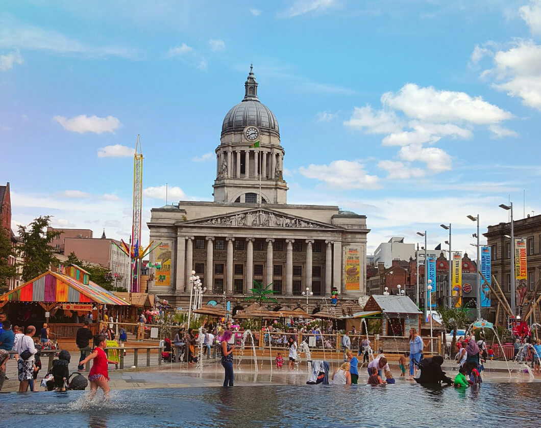A vibrant photo of the old council house located in Nottingham's Market Square.