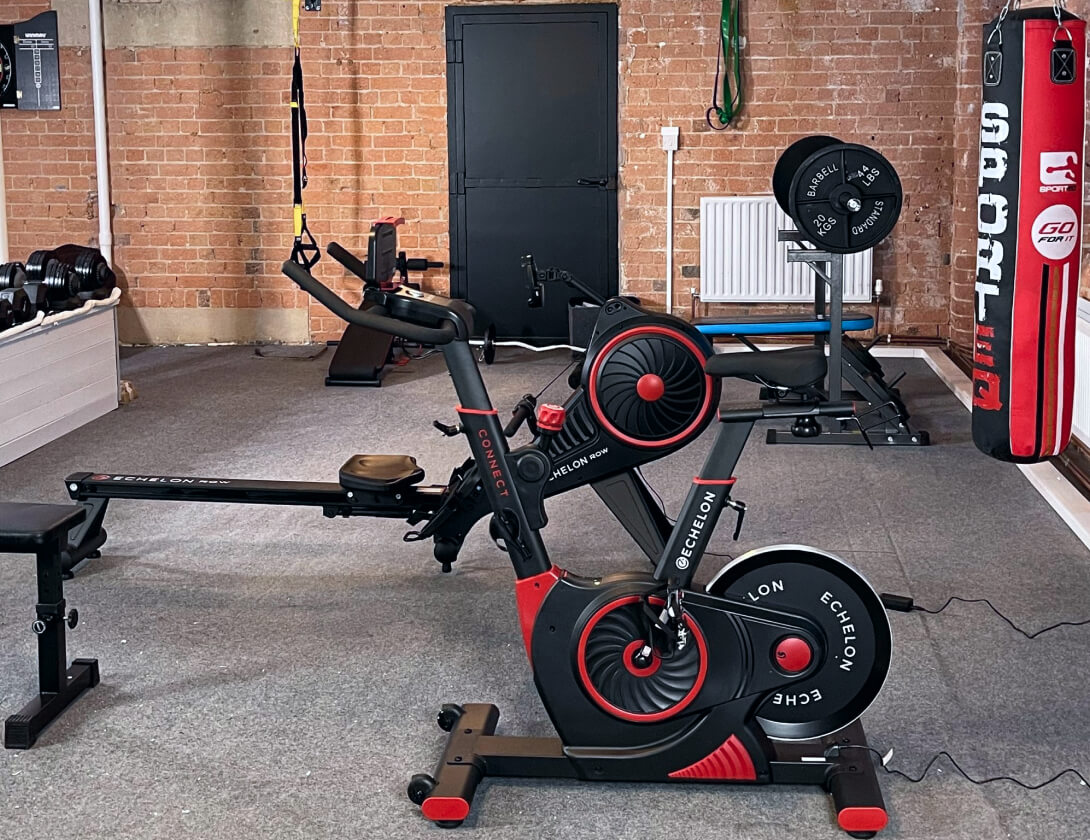 A photo of some of the equipment you can find in our office gym.