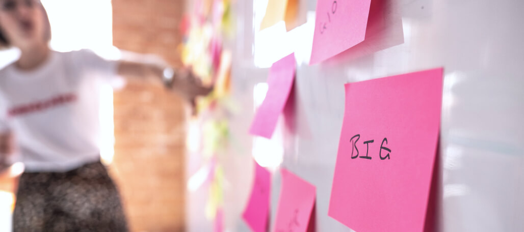 A close up of a post-it note from one of our Design Sprints.