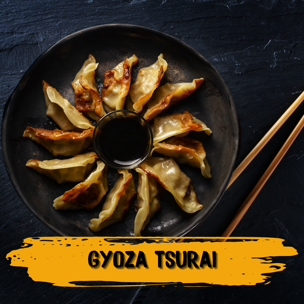 Fried chicken gyoza dumpling with teriyaki sauce and spring onion. This Japanese dish is also Halal.