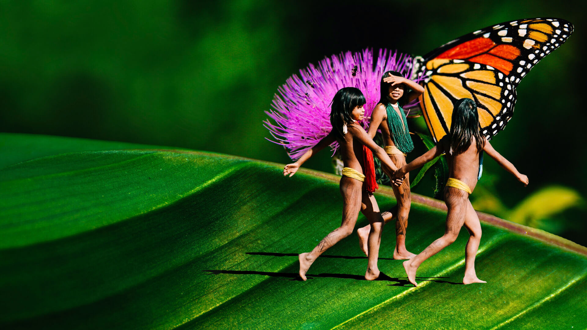 Three indigenous girls incorporated into a digital artwork piece for CHOOSE EARTH
