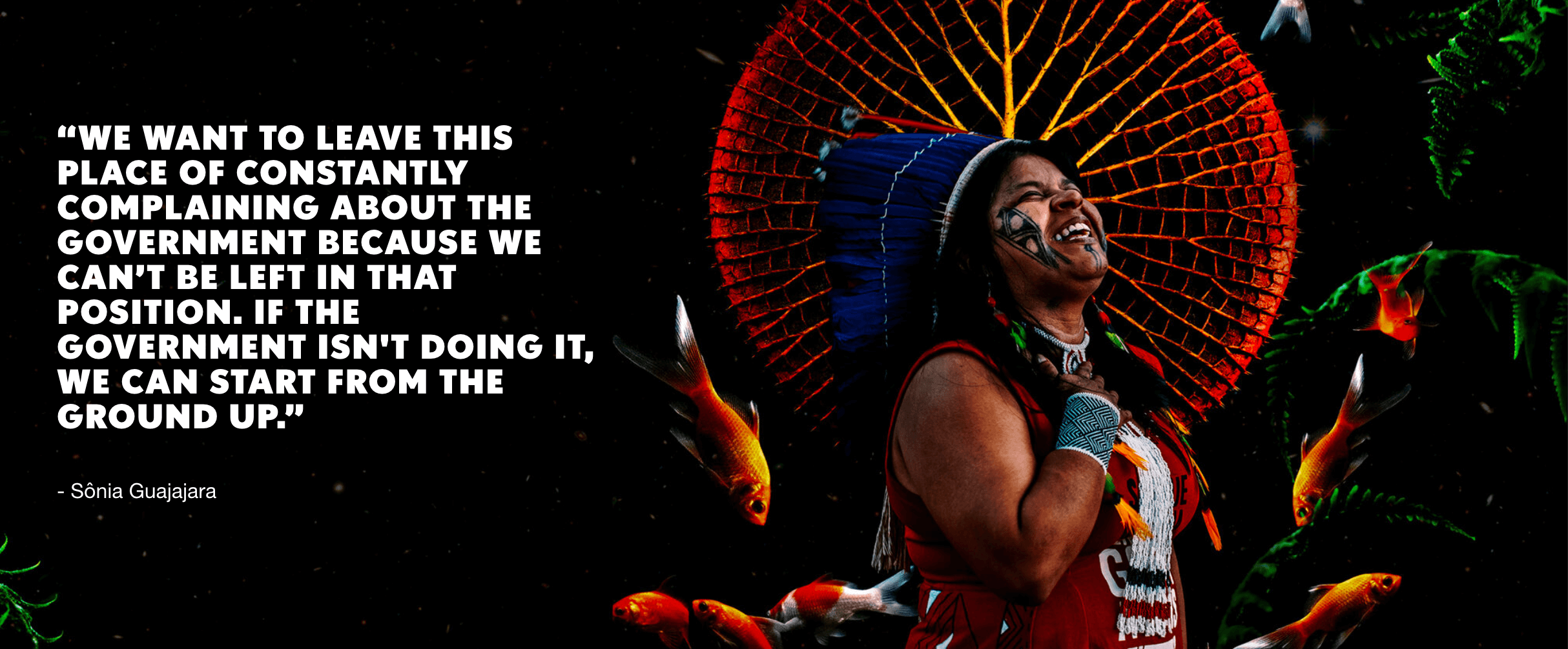 CHOOSE EARTH poster with a female indigenous leader and quote