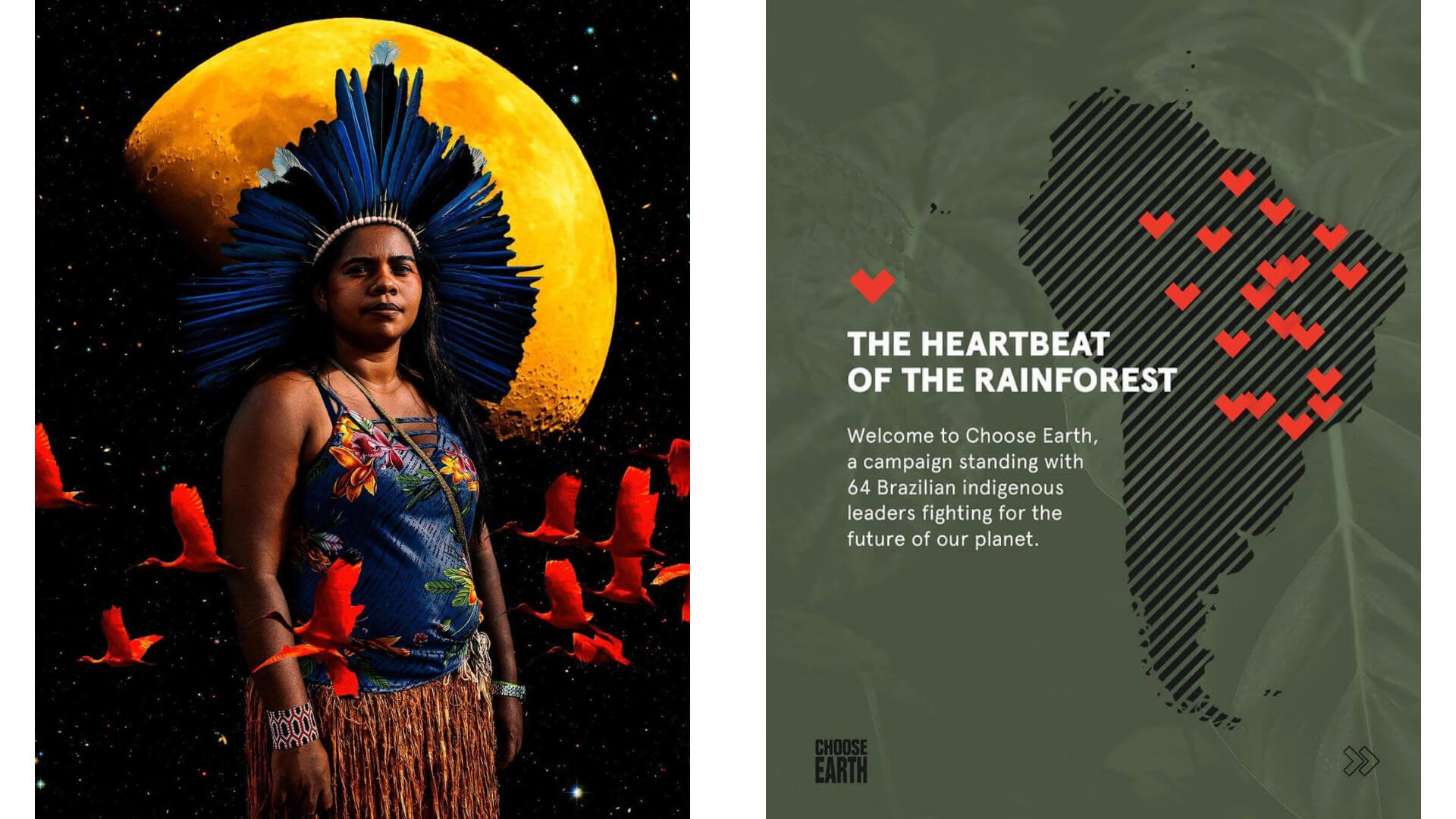 Female indigenous leader with traditional headwear and a CHOOSE EARTH poster of the communities supported