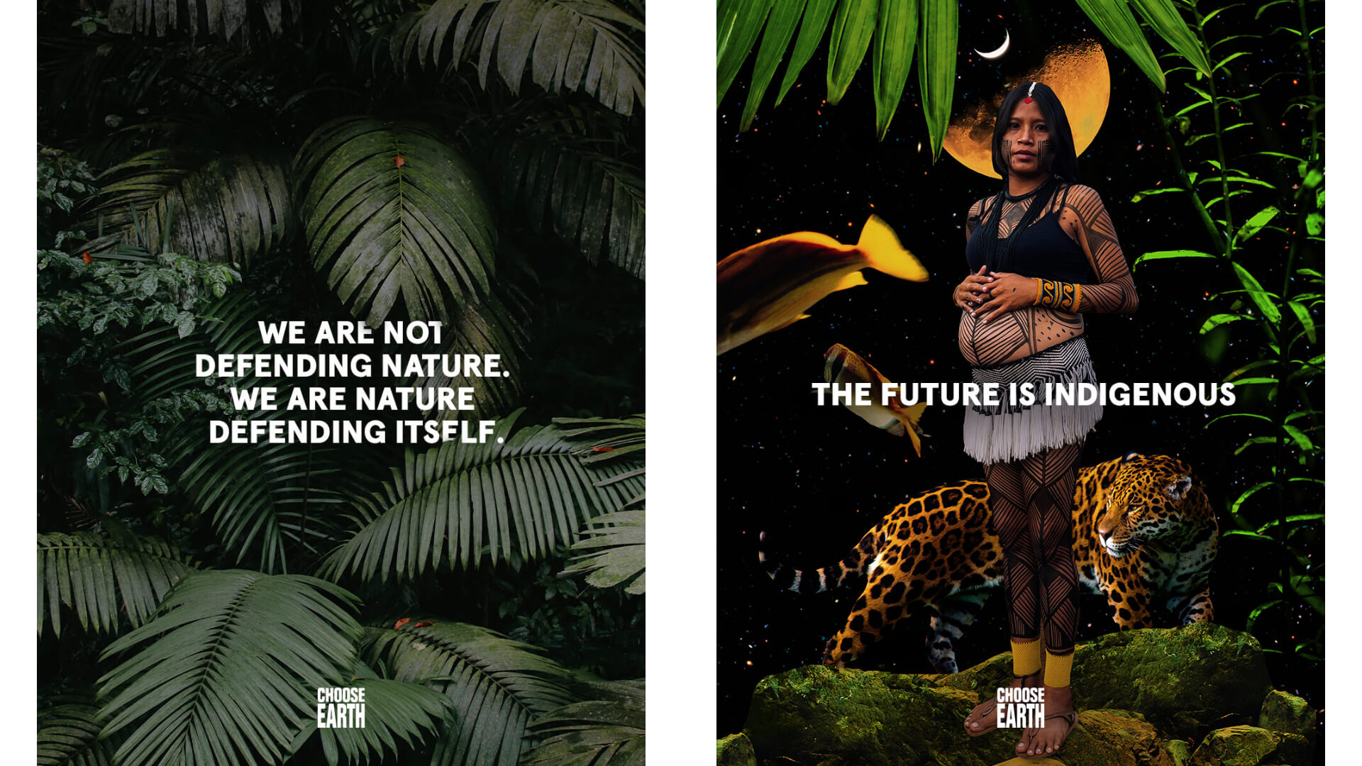CHOOSE EARTH poster with a quote and indigenous woman with a leopard
