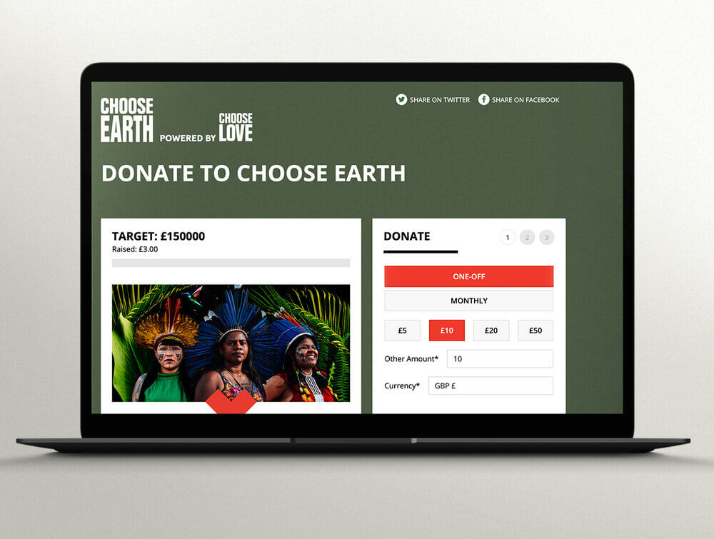 CHOOSE EARTH website and donation pagW