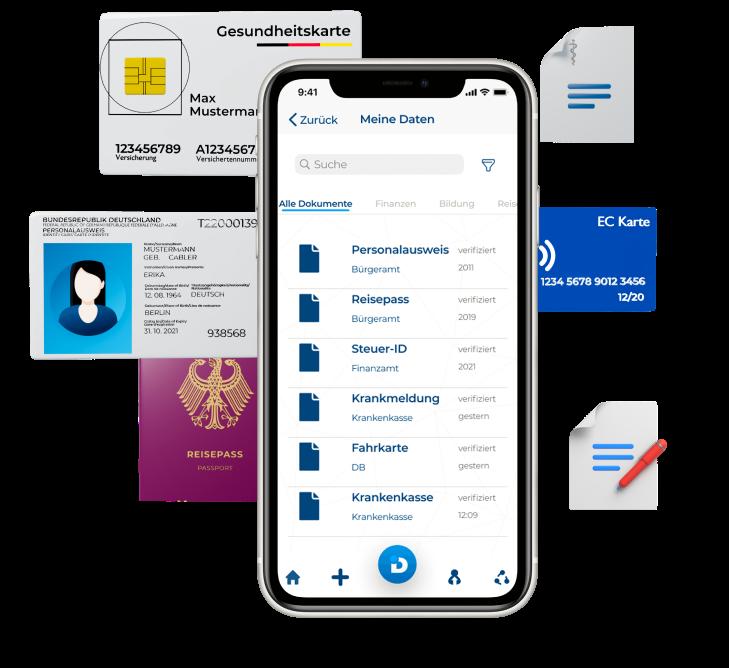 Pia Wallet; Alle Dokumente in deiner Hosentasche; Eine App um deinen Perso, Reisepass, Steuer-ID, Fahrkarte, KRankenkasse; alles in einer App