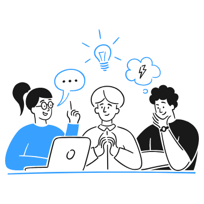 3 individuals working together while coming out with an idea. This relates to the idea of fair collaboration. Don't be afraid to acknowledge ideas and ask questions.