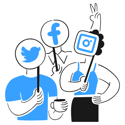 3 individuals showing signage of social media tools: twitter, facebook, and instagram