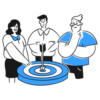 3 individuals with an arrow at the bullseye dartboard. This shows that you need to know who are your target market, who is this for, and aim for the most viable market first.