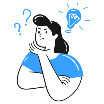 A female with question marks and lightbulb on top of her head with a thinking face. This shows that coming up with an idea in a productive manner isn't easy.