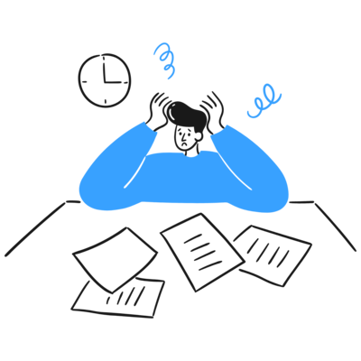 A male individual sitting with a stressed face and paper scattered everywhere. Start with defining the problem, what is the problem? What is going on?